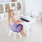 Hape Deluxe Electronic Grand Piano White with Stool