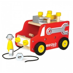 Janod Wooden DIY Red Truck With Tools