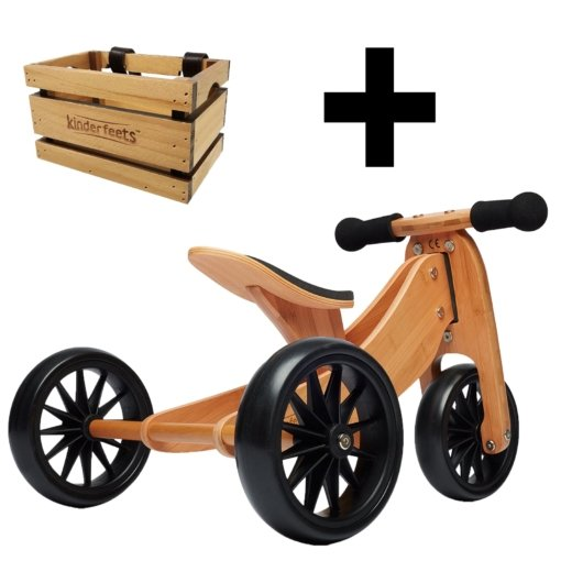 Kinderfeets Tiny Tot 2 in 1 Bamboo Bike + Crate