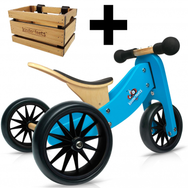 Kinderfeets Tiny Tot 2 in 1 Blue Bike + Crate
