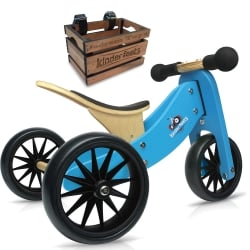 Kinderfeets Tiny Tot 2 in 1 Blue Bike with Crate