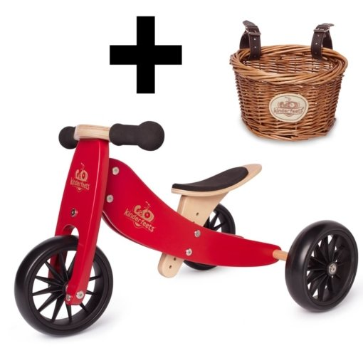Kinderfeets Tiny Tot 2 in 1 Cherry Red Bike with Basket