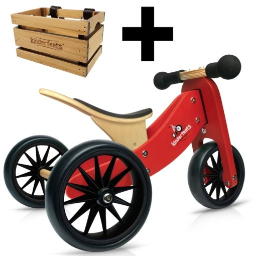 Kinderfeets Tiny Tot 2 in 1 Red Bike + Crate