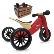 Kinderfeets Tiny Tot 2 in 1 Red Bike with Crate