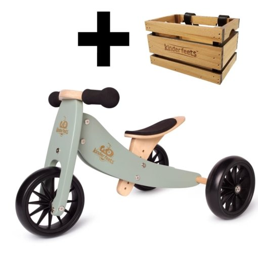 Kinderfeets Tiny Tot 2 in 1 Sage Bike + Crate