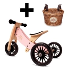 Kinderfeets Tiny Tot * PLUS * 2 in 1 Trike Rose with Basket Bundle