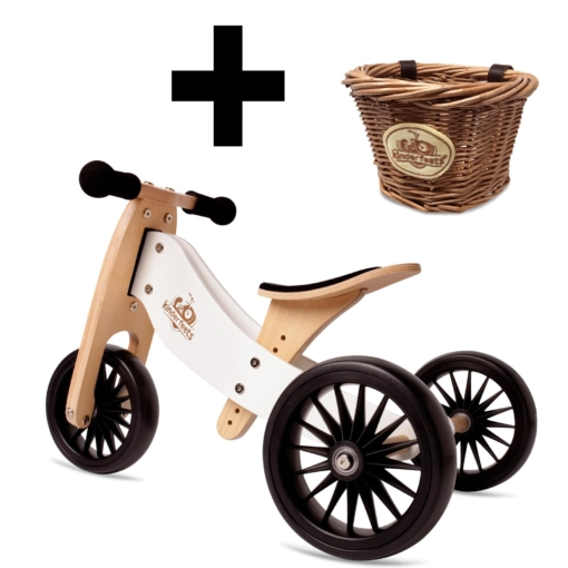 Kinderfeets Tiny Tot PLUS Trike White With Basket