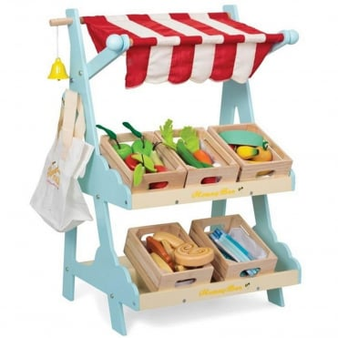Le Toy Van Honeybee Market Stall with 5 Filled Crates