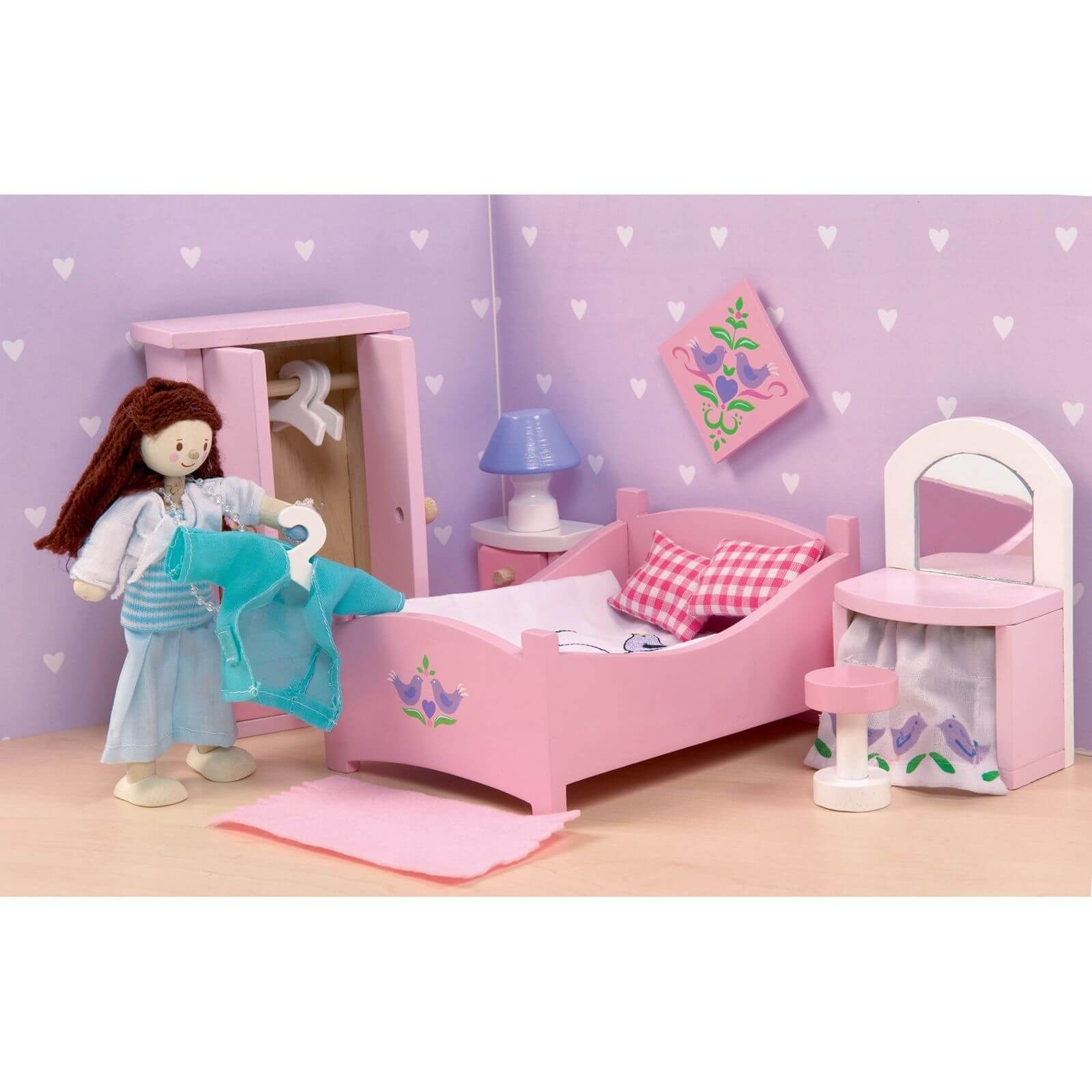 Le Toy Van Sugar Plum Bedroom Wooden Dolls House Furniture Jadrem Toys