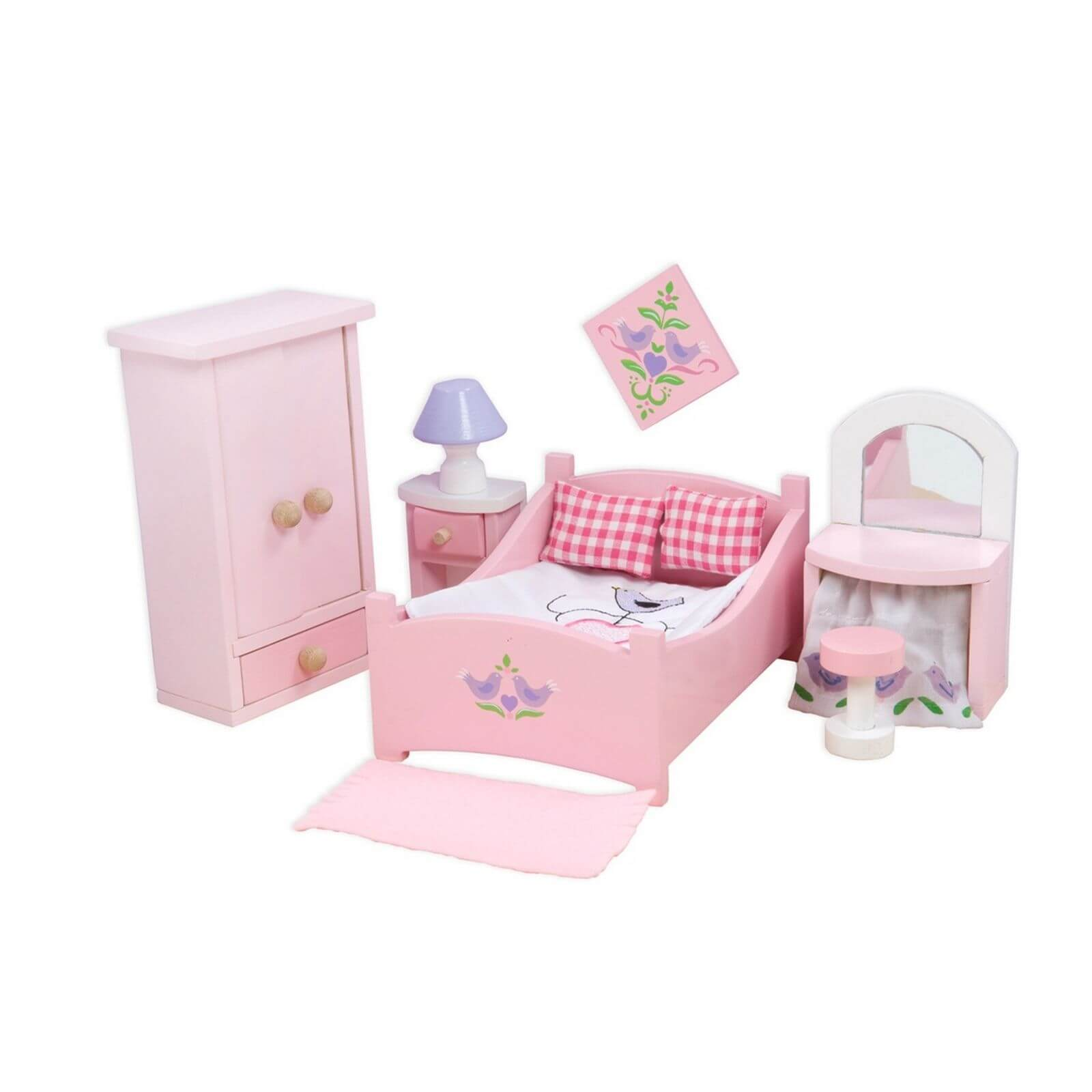 Le toy van sugar plum bedroom wooden dolls house furniture jadrem toys Dolls wooden furniture