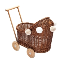 Lilu Wicker Dolls Pram Natural
