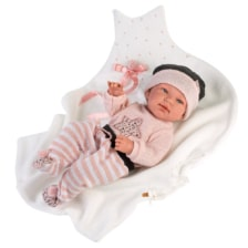 Llorens Articulated Baby Doll Tina with Star Cushion and Blanket 43cm