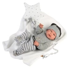 Llorens Articulated Baby Doll Tino with Cushion and Blanket 43cm