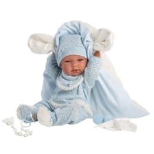 Llorens Baby Doll Nico with Blue Blanket with Ears 38cm