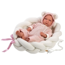 Llorens Crying Baby Doll Lala with Braided Cocoon Bedding