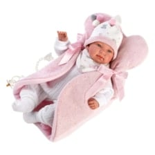 Llorens Crying Baby Doll Tina with Changing Seat 44cm