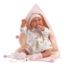 Llorens Crying Baby Doll Tina with Hooded Blanket