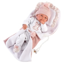 Llorens Crying Baby Doll Tina with Pillow and Blanket 44cm