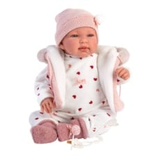 Llorens Crying Baby Doll Tina with Pink Hooded Vest 44cm