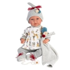 Llorens Crying Doll Mimi with Gray Blanket 42cm