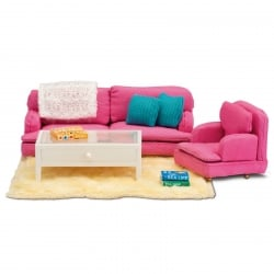 Lundby Smaland Pink Sitting Room Set Scale 1:18