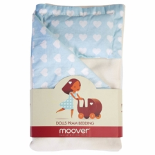 Moover Pram Bedding Pale Blue with White Hearts