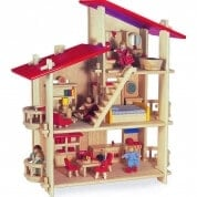 Multi Level Wooden Dolls House with Furniture and Dolls
