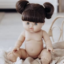 Paola Reina Gordis Doll Brunette Pigtails Daisy 34cm Green Eyes