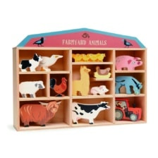 Tender Leaf Farmyard Animals in Wooden Display Unit