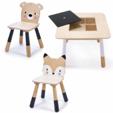 Tender Leaf Toys Forest Wooden Table Bear and Fox Chairs