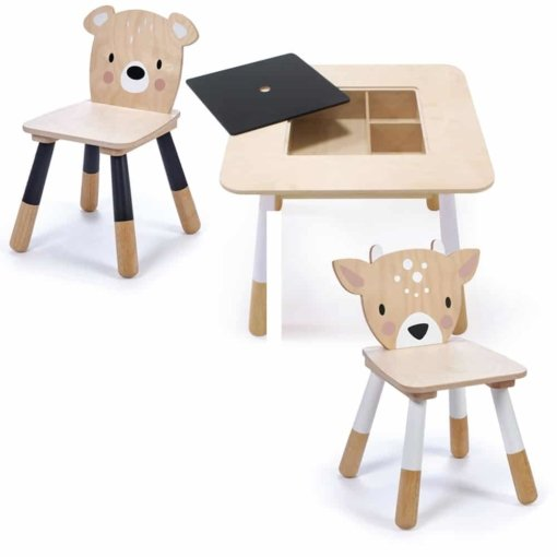 Tender Leaf Toys Forest Wooden Table Deer and Bear Chairs