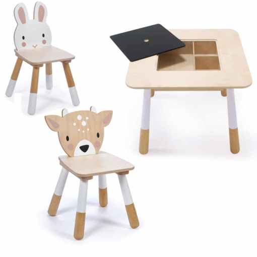 Tender Leaf Toys Forest Wooden Table with Deer and Rabbit Chairs