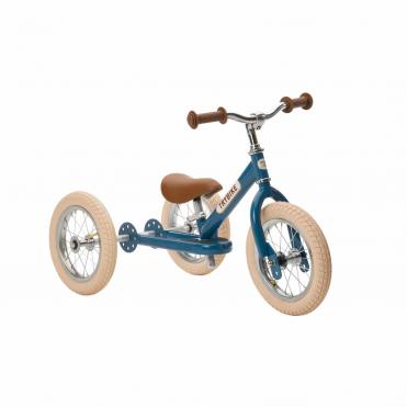 Trybike Steel 2 in 1 Balance Bike Blue Vintage