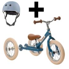 Trybike Steel 2 in 1 Balance Bike Blue Vintage And Basket