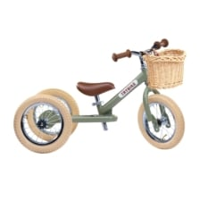Trybike Steel 2 in 1 Balance Bike Vintage Green with Basket