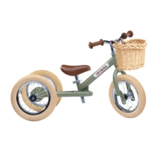 Trybike Steel 2 in 1 Balance Bike Vintage Green with Basket