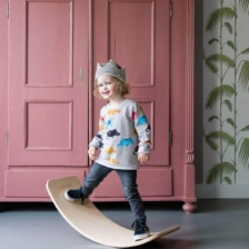 Wobbel Wooden Balance Board with Felt Forrest Green